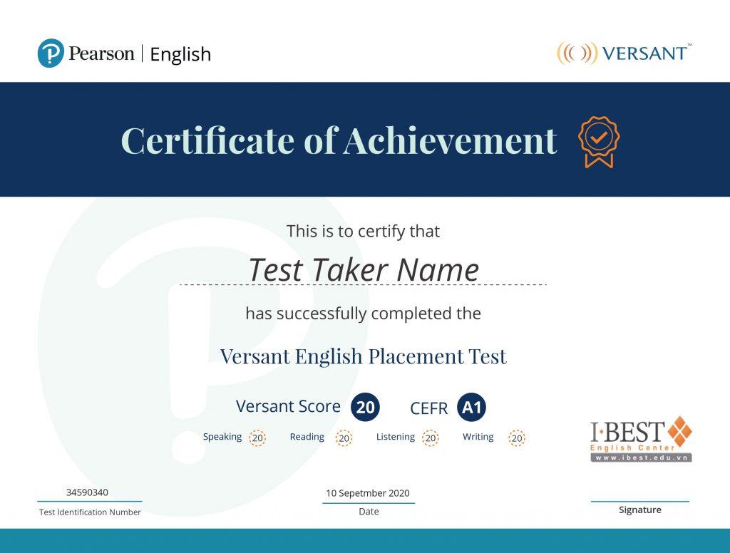 Mẫu chứng chỉ Versant